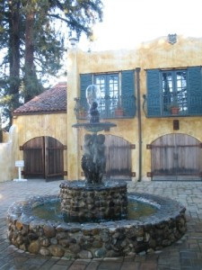 Fountain at winery entrance