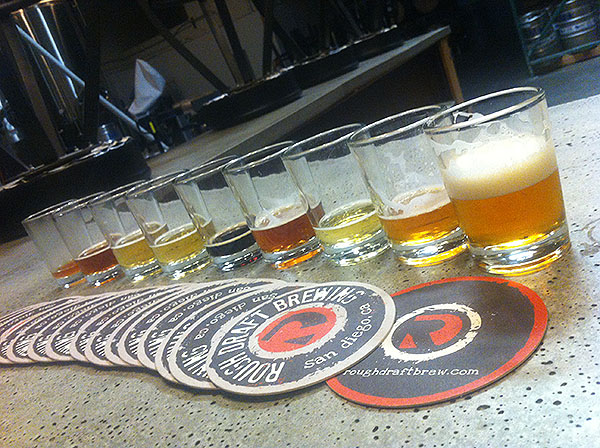 Beer Tasting Flight at Rough Draft in San Diego