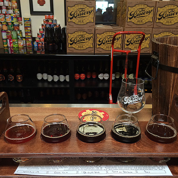 Beer Sampler at the Bruery - Black Tuesday and Grey Monday being picked up