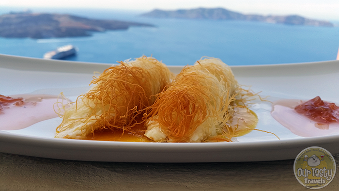 Assyrtico Kataifi Fillo http://ourtastytravels.com/blog/eat-santorini-assyrtico-wine-restaurant-fira/ #food #travel #santorini #greece #ourtastytravels #ottmed14