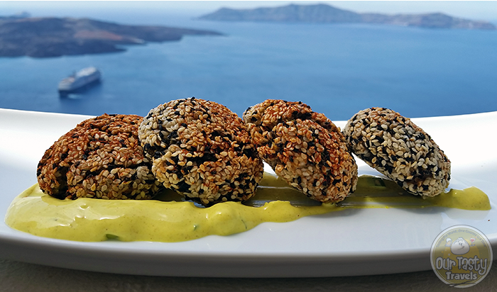 Assyrtico Zucchini Fritters http://ourtastytravels.com/blog/eat-santorini-assyrtico-wine-restaurant-fira/ #food #travel #santorini #greece #ourtastytravels #ottmed14