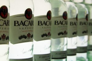Bacardi labels feature the iconic bat and more.