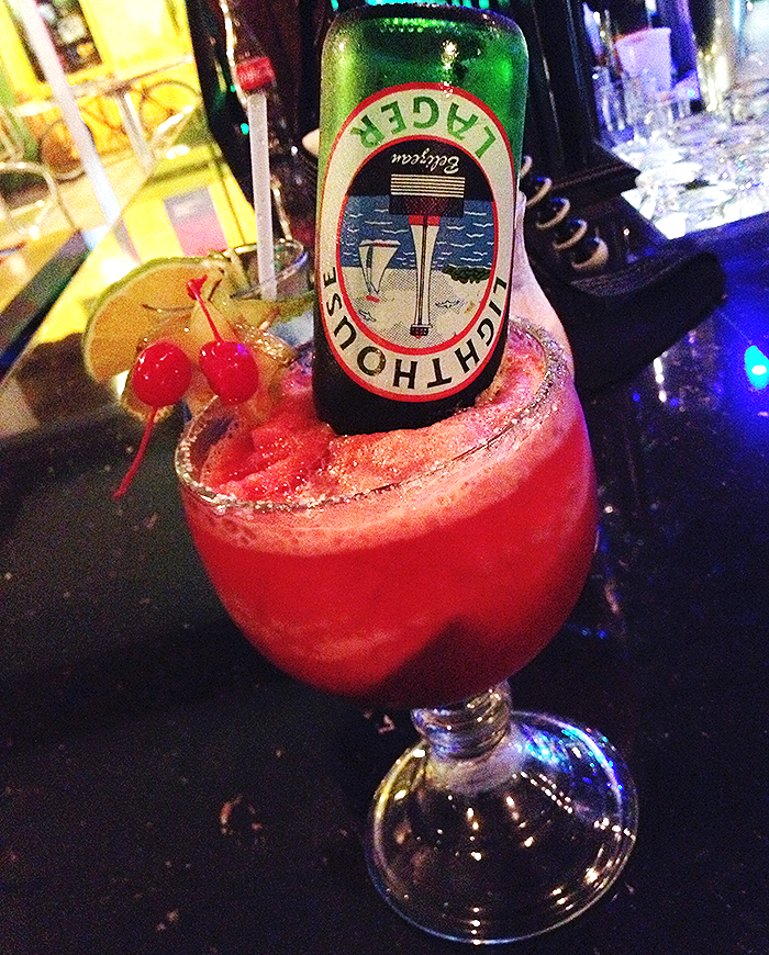Strawberry Beerita from Caramba Restaurant and Bar in San Pedro, Belize http://ourtastytravels.com/photo-of-the-week/photo-week-strawberry-beerita-belize/ #belize #beer #cocktail #ourtastytravels #cayetobelize