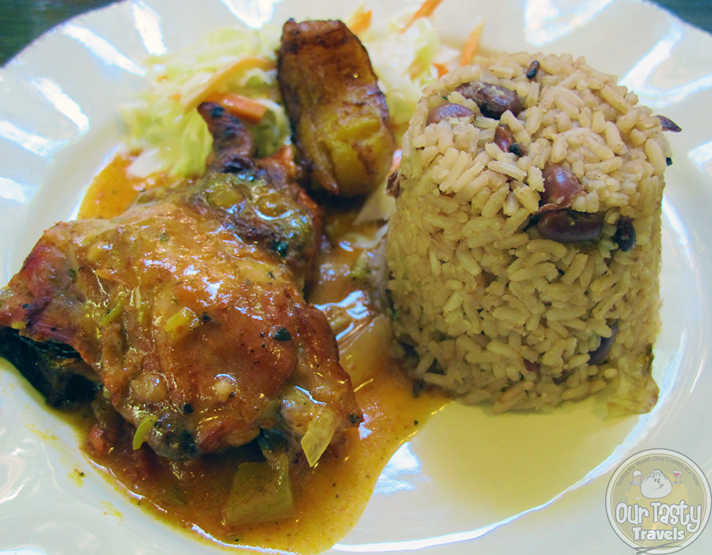 "Belize's ""national dish"" of rice n beans with stew chicken"
