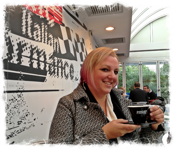 By far, Erin's favorite espresso was at the Ducati Factory
