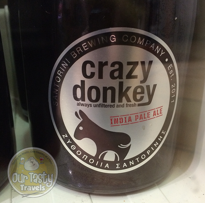 Santorini Brewing Company Crazy Donkey http://ourtastytravels.com/blog/craft-beer-santorini-greece/ #beer #ottmed14 #ourtastytravels