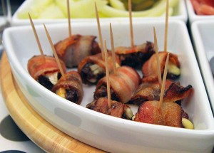 Blue cheese stuffed dates wrapped with bacon