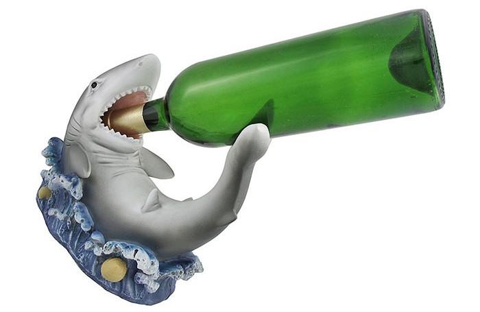 Whimsical Great White Shark Wine Bottle  http://ourtastytravels.com/blog/shark-related-food-wine-products-get-ready-shark-week/ #shark #sharkweek #ourtastytravels #wine