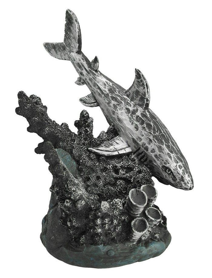 Great White Shark and Coral Wine Bottle Holder http://ourtastytravels.com/blog/shark-related-food-wine-products-get-ready-shark-week/ #shark #sharkweek #ourtastytravels #wine