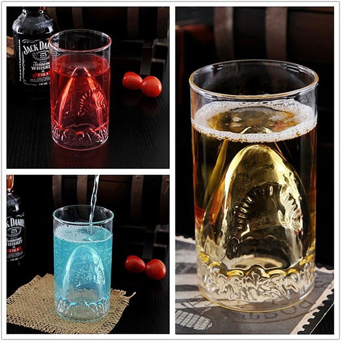 Hand-Blown Shark Glasses http://ourtastytravels.com/blog/shark-related-food-wine-products-get-ready-shark-week/ #shark #sharkweek #ourtastytravels #wine