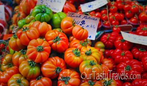 Heirloom tomatoes at vegetable stand in Bologna, Italy