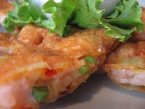 Close up of Spicy Shrimp Pancake