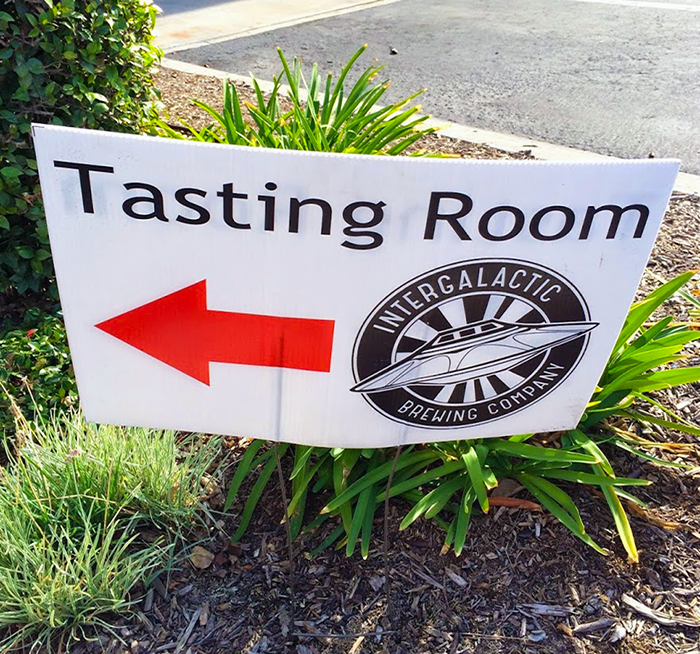This way to the Intergalactic Brewing Company Tasting Room