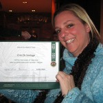 Erin with her certificate