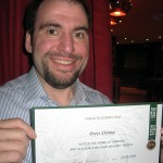 Brett with his whiskey certificate