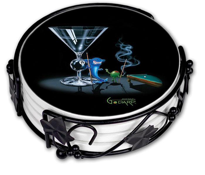 Michael Godard Pool Shark Coaster Set http://ourtastytravels.com/blog/shark-related-food-wine-products-get-ready-shark-week/ #shark #sharkweek #ourtastytravels