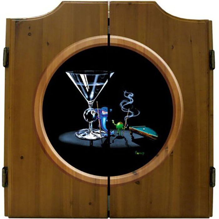 Michael Godard Pool Shark Dart Cabinet http://ourtastytravels.com/blog/shark-related-food-wine-products-get-ready-shark-week/ #shark #sharkweek #ourtastytravels