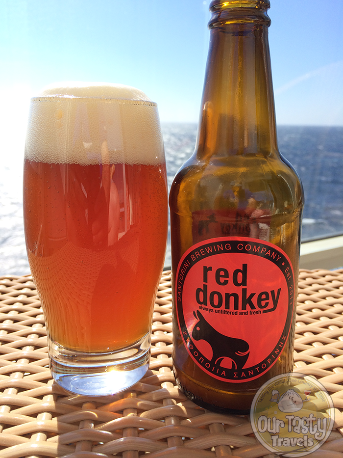 Santorini Brewing Company Red Donkey http://ourtastytravels.com/blog/craft-beer-santorini-greece/ #beer #ottmed14 #ourtastytravels
