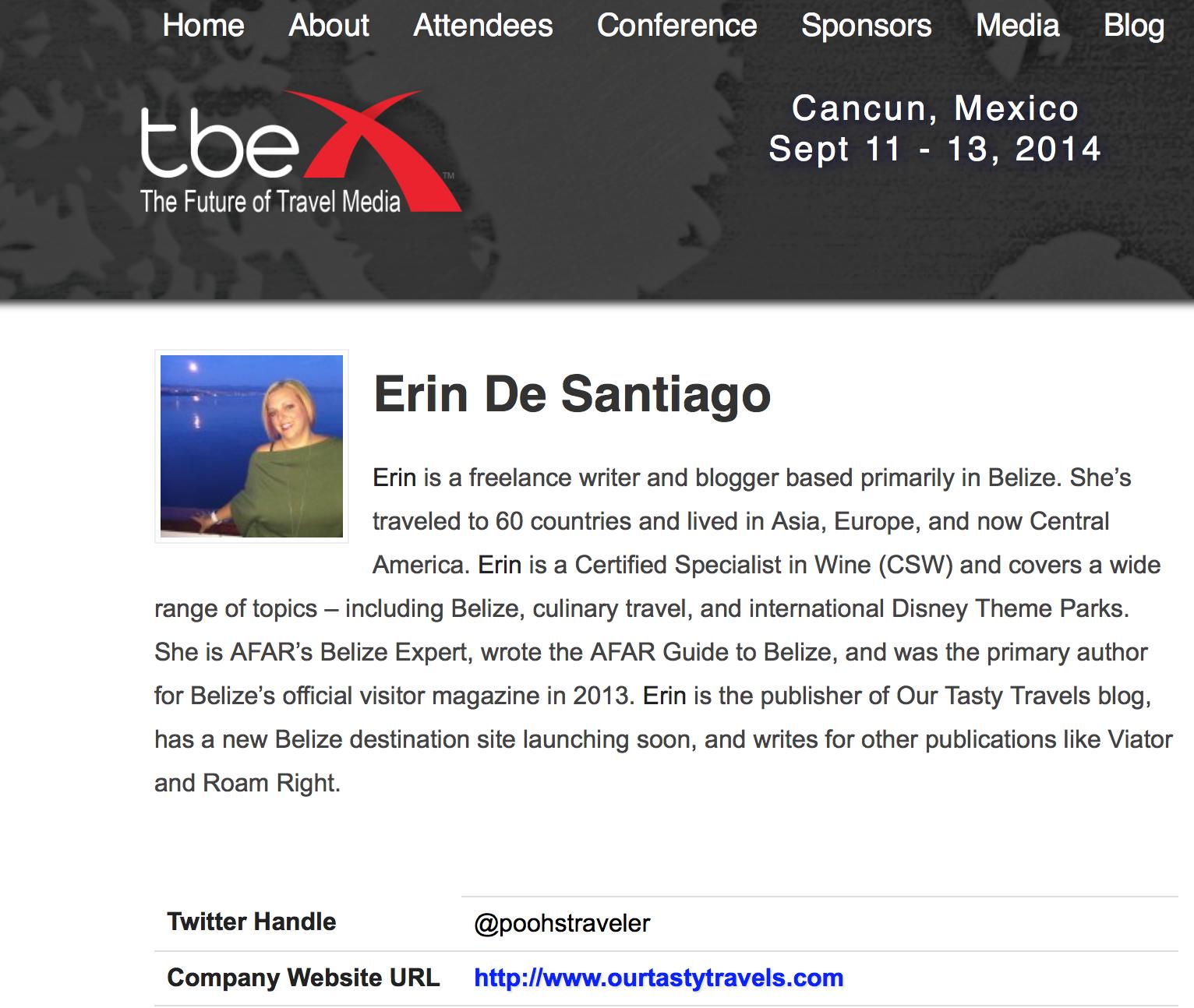 Erin De Santiago TBEX Cancun Speaker