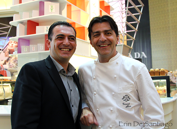 L-R: Executive Chef Angelo Agliano from L'Atelier de Joel Robuchon and Chef Yannick Alleno http://ourtastytravels.com/blog/sweet-tea-yannick-alleno-taipei-101/ #ourtastytravels #taipei