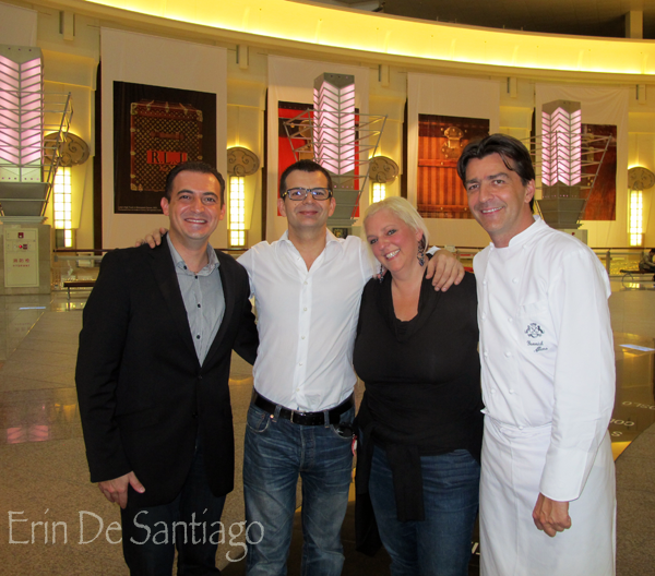 Chef Angelo and Sommelier Benoit from l'Atelier de Joel Robuchon, Erin De Santiago from Our Tasty Travels, and Chef Yannick Alleno http://ourtastytravels.com/blog/sweet-tea-yannick-alleno-taipei-101/ #ourtastytravels #taipei