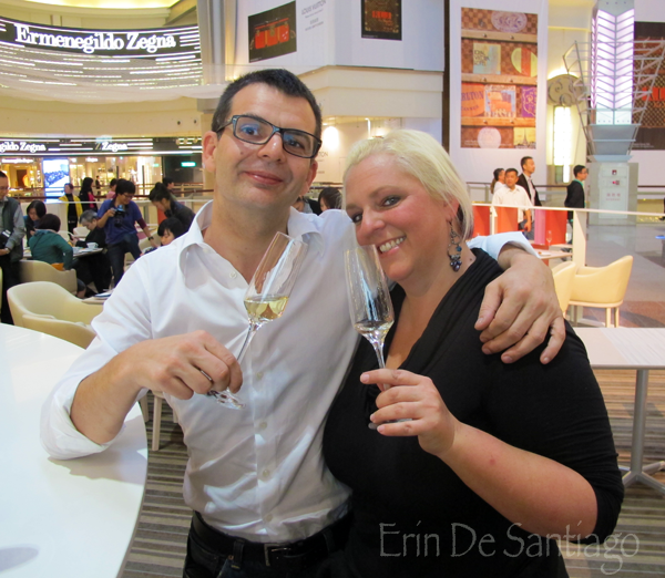 Erin de Santiago of Our Tasty Travels with Benoit, the awesome Sommelier from L'Atelier de Joel Robuchon http://ourtastytravels.com/blog/sweet-tea-yannick-alleno-taipei-101/ #ourtastytravels #taipei