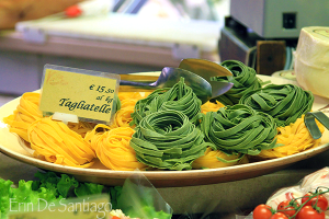 Fresh Tagliatelle pasta available in markets in Bologna, Italy