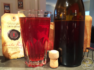 """27-Mar-2015 : Rodenbach Caractère Rouge by Brouwerij Rodenbach. The exclusive RODENBACH Caractère Rouge, with an alcohol content of 7%, is the result of a 6-month maceration with fresh fruit (sour cherries, raspberries and cranberries) of a beer which matured in oak casks for 2 years. After its maceration, the beer is re-fermented in the bottle. RODENBACH Caractère Rouge is vinous with a very complex, fruity nose of raspberry and cherry combined with notes of wood and caramel. The undertone consists of an aroma of violets, leather and a hint of tobacco. Flavourwise this fruit beer has rather sour taste, but of an exceptionally pure nature. Its light, residual sugars balance out the triangle of sour, sweet and dry flavours. This dryness mainly stems from the cranberries, which lend the beer an exceptionally long and pure aftertaste. """"This beer evokes the unique combinationof delicacy and power of a fresh Burgundy wine."""" RODENBACH Caractère Rouge can be enjoyed as an appetiser and pairs extremely well with crayfish, goose liver, beef, saddle of hare, venison, chocolate, pastry, red berries, and blue cheese. #ottbeerdiary"""