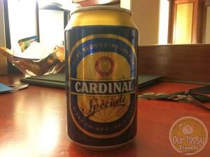 13-Jun-2015 : Cardinal Spéciale by Feldschlösschen. Hotel minibar beer. Thrilled it's Swiss (even if part of Carlsberg group)! A Pilsner, decent. Special? Perhaps not. But it'll do! #ottbeerdiary