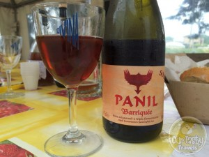 17-Jun-2015 : Panil Barriquée by Panil Birrificio Torrechiara. From the brewery just below Torrechiara castle near Parma. We had a great tour of the brewery and tasting of a selection of their beers and other artisanal products. Some of the best beers in Italy, here #inEmiliaRomagna. Make sure to serve at the proper temperature. So much great wood flavors with the sour. Some bitterness on the aftertaste. Very nice. #blogville #ViaEmilia #ottbeerdiary