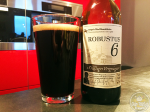 "2-Apr-2015: Robustus 6 by Riegele BierManufaktur. ""Kraftiges Vergnugen"", or Strong Pleasure. Pitch black color with a dark creamy head. Not much aroma and flavor at first, but once it sits in the glass a few minutes, both really come out. Lots of chocolate and coffee aroma and flavor both. Definitely be patient with this one! #ottbeerdiary"