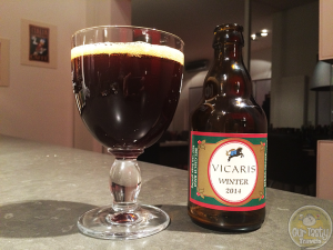 9-Feb-2015 : Vicaris Winter (2014) by Brouwerij Dilewyns of Dendermonde, East-Flanders, Belgium. A deep, dark reddish-brown, lot of fizz, if not a lot of head. Dark chocolate and black licorice, once you let the carbonation fade out a little in the glass. Actually quite tasty if you give it time. #ottbeerdiary
